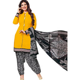 Buy Yellow cotton printed unstitched salwar with dupatta patiala-salwar online