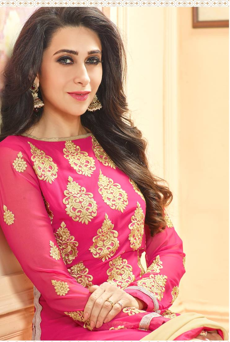 Buy Pink georgette embroidered semi stitched salwar with dupatta Online
