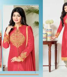 Buy Red cotton embroidered semi stitiched salwar with dupatta cotton-salwar-kameez online