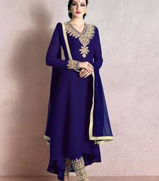 Buy Purple georgette embroidered semi stitched salwar with dupatta party-wear-salwar-kameez online