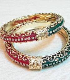 Buy Traditional half and half red green cz stud bangle bangles-and-bracelet online