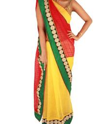 Buy Yellow/Red Khadi finish Saree with Floral Border tissue-saree online