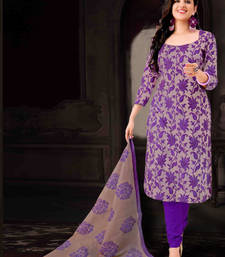 Buy Purple cotton embroidered semi stitched salwar with dupatta party-wear-salwar-kameez online