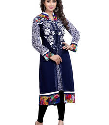 Buy Navy Blue Embroidered georgette A-line Kurti long-kurti online