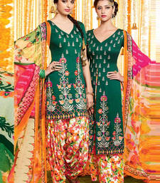 Buy Green satin embroidered unstitched salwar with dupatta patiala-salwar online