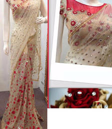Buy Cream And Red Embroidered Nylon Mono Net Saree With Blouse designer-embroidered-saree online
