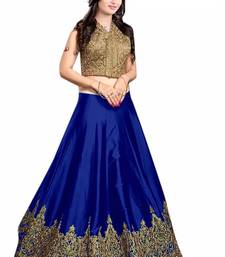 Buy Blue Silk Embroidered unstitched lehenga choli punjabi-lehenga online