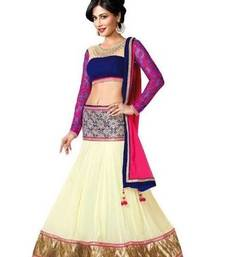 Buy white embroidred georgette lehenga women whith blouse lehenga-below-2000 online