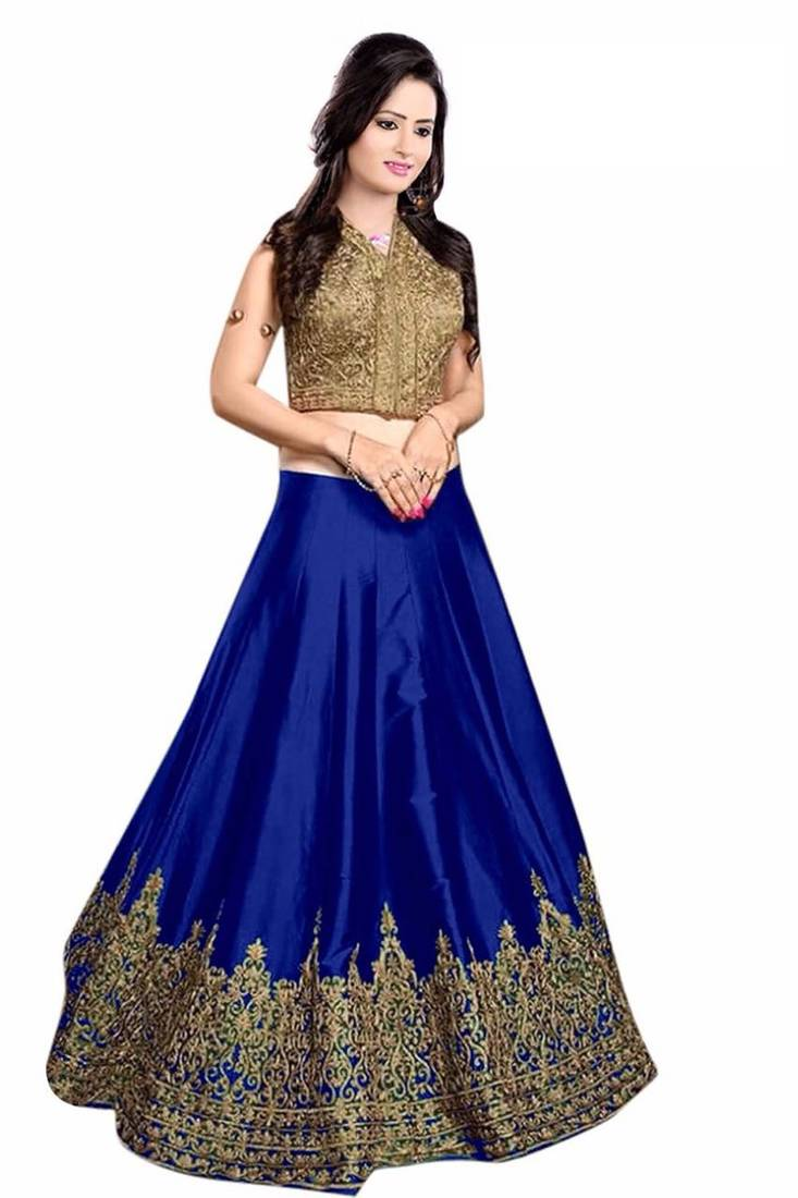 Buy A ROYAL BLUE BANGLORI FREE SIZE SEMI STICHHED LEHENGA ...