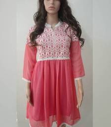 Buy Light Pink Georgette Embroidered Kurti other-apparel online