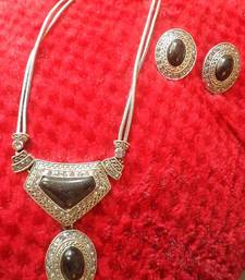 Buy Silver Black Necklace Set-110163 necklace-set online