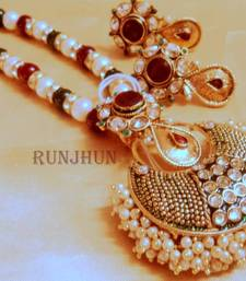 Buy meena and pearl broad necklace Necklace online