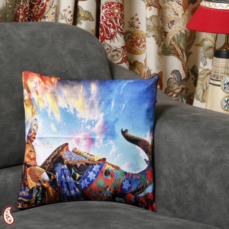 Buy Royal Elephant Procession Velvet Cushion Covers Online