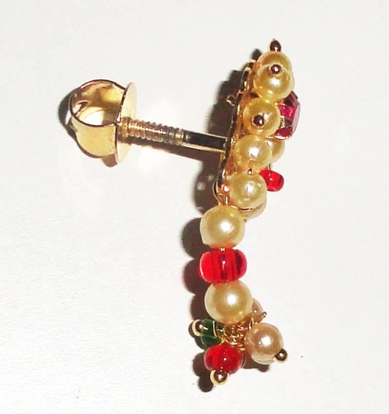 Buy Nath ear top stud of Prarls Traditional Maharashtrian ...