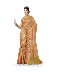 Buy beige Plain art silk saree With Blouse tussar-silk-saree online