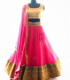 Buy pink softnet embroided work fancy lahegha choli bridal-lehenga online