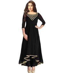 Buy Black embroidered georgette semi stitched kurtis long-kurti online