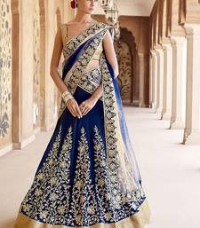 Buy Blue bangalore silk embroidered unstitched lehenga choli lehenga-choli online