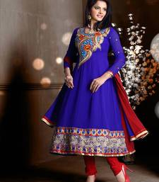 Buy Riti Riwaz Georgette  Fabric  With Un-Stitch Dupatta  blue Color MB1021 dress-material online