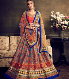 Beige and orange printed silk unstitched bridal lehengas shop online