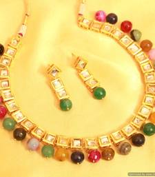 Buy Multicolour Kundan Meenakari Necklace Sets south-indian-jewellery online