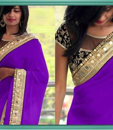 Buy purple embroidered georgette saree With Blouse wedding-gift online