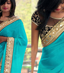 Buy SKY BLUE GEORGETTE DESIGNER EMBROIDERY LACE BORDER WITH BLOUSE SAREE SARI..   wedding-gift online