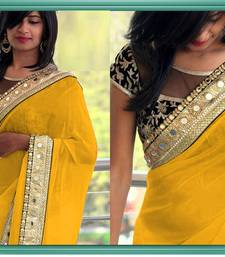 Buy YELLOW GEORGETTE DESIGNER SAREE WITH EMBROIDERY LACE BLOUSE SAREE..  wedding-gift online