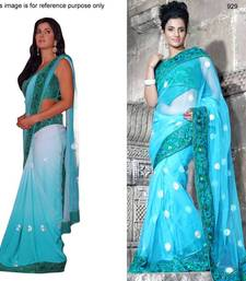 Buy Sky blue net saree with unstitched blouse (bwd929) net-saree online