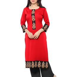 Buy Red printed faux crepe stitched kurti long-kurti online
