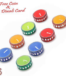 Buy Set of 8 lacquer candle diyas candle online