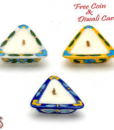 Buy Stunning triangular shape candle diyas- set of 3 candle online