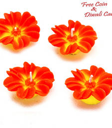 Buy Orange and yellow flower candle diyas- set of 4 candle online