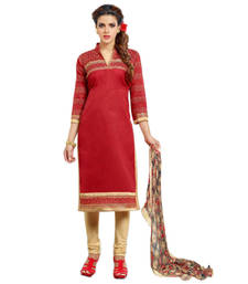 Buy Red chanderi embroidedred semi stitched salwar with dupatta collar-neck-design online