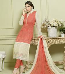 Buy Orange And Cream georgette embroidered semi stitiched salwar with dupatta pakistani-salwar-kameez online