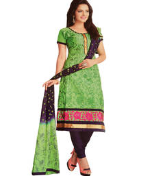 Buy green cotton embroidered unstitched salwar with dupatta salwars-and-churidar online