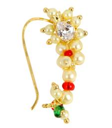 Buy Gold Red Green White Combination Maharashtrian Nath Nose Ring for Women nose-ring online