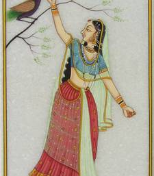 Buy eCraftIndia Ragini with Peacock Marble Painting other-home-accessory online