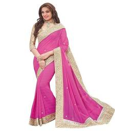 Buy Pink plain chiffon saree with blouse hot-deal online