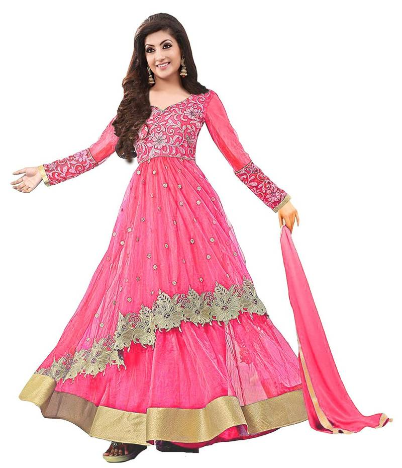 Buy Pink Net Embroidered Unstitched Salwar With Dupatta Online