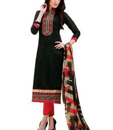 Buy Black chanderi embroidered unstitched salwar with dupatta salwars-and-churidar online