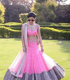 Buy Pink Net unstitched Lehenga with Blouse lehenga-below-2000 online