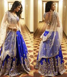 Buy Blue Silk Embroidered unstitched Lehenga with Blouse lehenga-below-2000 online