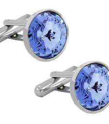 Buy Glossy Rhodium Plated Round Blue Cufflink Pair For Men cufflink online