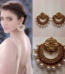 Buy New Ramleela Earrings in Maroon with Pearls hoop online