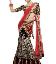 Buy Valehri Black and Red Hand Embriodered Lehenga Saree lehenga-saree online