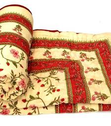 Buy Red jaipuri hand made block print double bed quilts quilt online