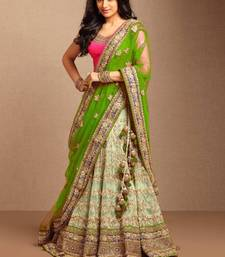 Buy LIGHT GREEN embroidered net unstitched bridal-lehengas bridal-lehenga online