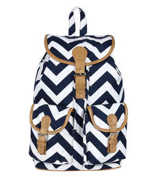 Buy Blue and  white canvas lacey backpack backpack online