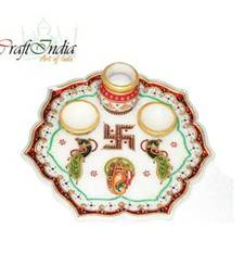 Buy eCraftIndia Decorative Pooja Thali with Swastik and Peocock other-home-accessory online